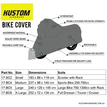 Kustom Hardware Bike Cover Small - Scooter with Rack
