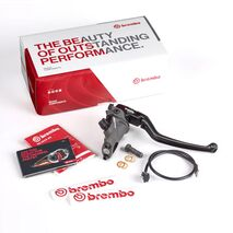 Brembo 17RCS Corsa Corta Radial Master Brake Cylinder Premium Kit Black - 110C74040 + Light Smoke Reservoir Kit 110A26385 / 10444663