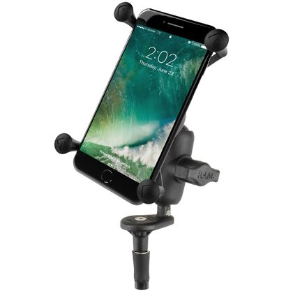 RAM Fork Stem Motorcycle Base with Short Double Socket Arm and Universal X-GRIP® Large Phone Cradle RAM-B-176-A-UN10U